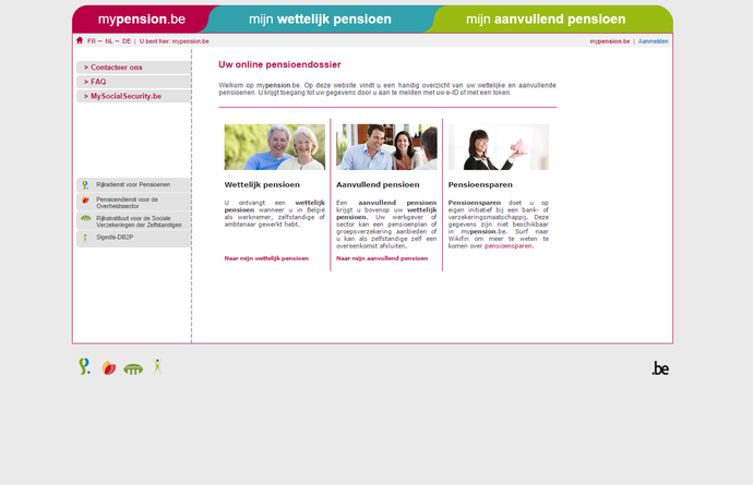 afbeelding van website mypension.be